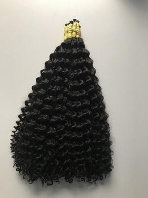 Cabelo Natural Cacheado Castanho Escuro 55 cm 50 Gramas