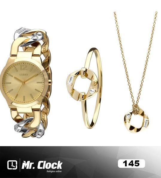 908b7783231 Kit Relógio Euro Feminino 4You Dourado - Mr.Clock