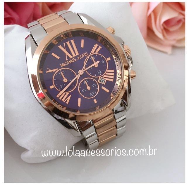 1c7908e987f39 Relógio MK Prata e Rose - Azul Marinho - Lola Acessórios - Loja de ...