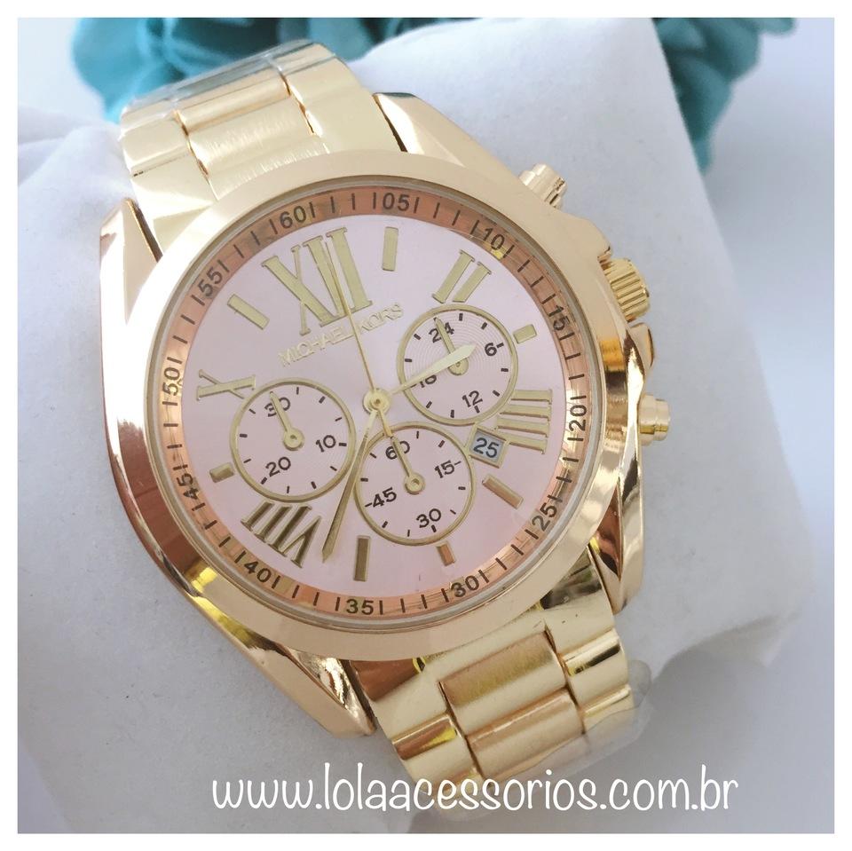 3981d82702f Relógio MK Dourado Fundo Rosa Bebê Relógio MK Dourado Fundo Rosa Bebê