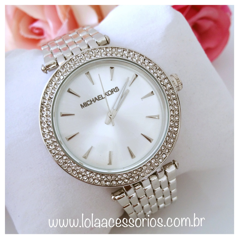 6d4a532ab18d2 Relógio MK Prata Strass - Lola Acessórios - Loja de acessórios Femininos