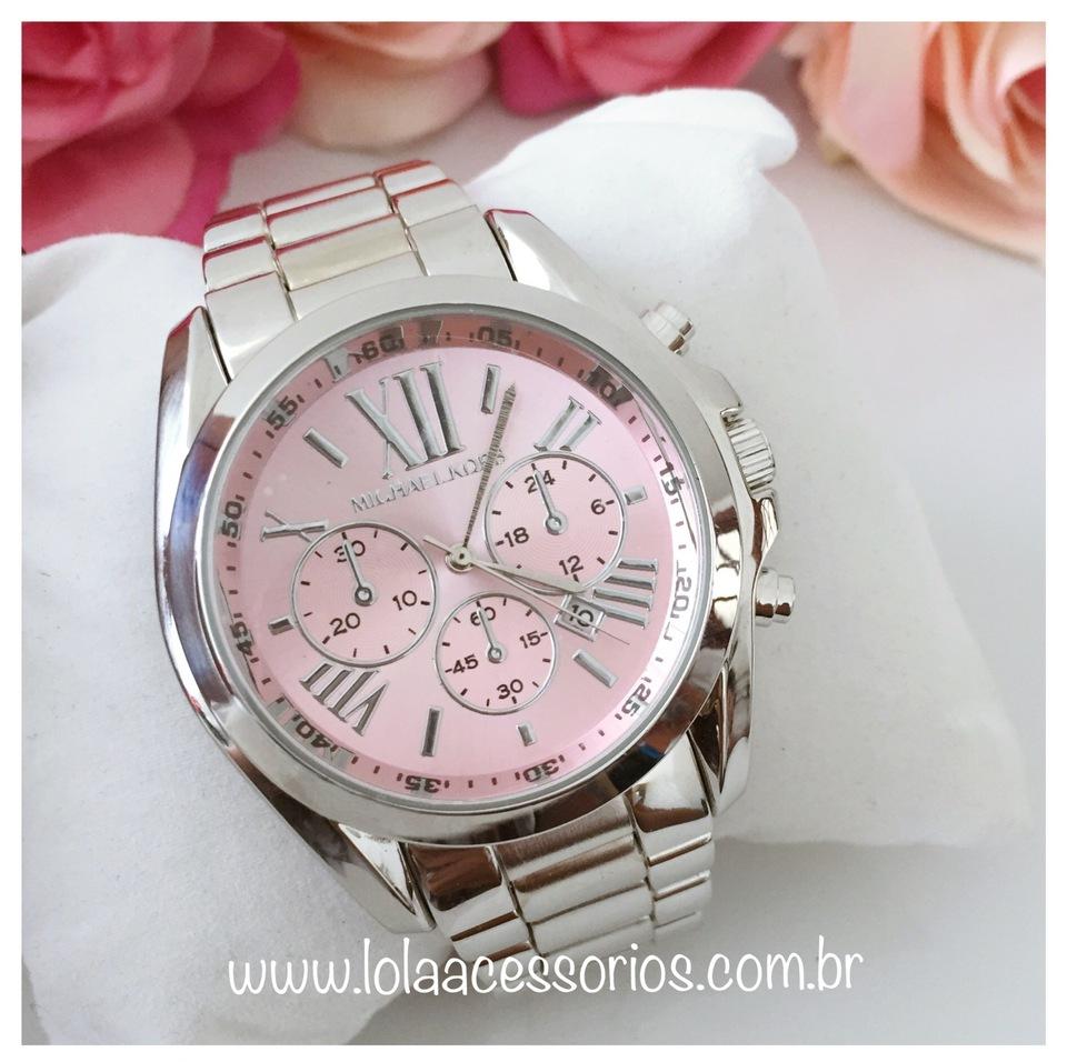 f70c0712112 Relógio MK Romanos Prata - Rosa Bebê - Lola Acessórios - Loja de ...