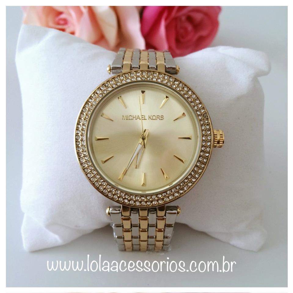 efde21982ce4c Relógio MK Strass Prata   Dourado - Fundo Dourado - Lola Acessórios ...