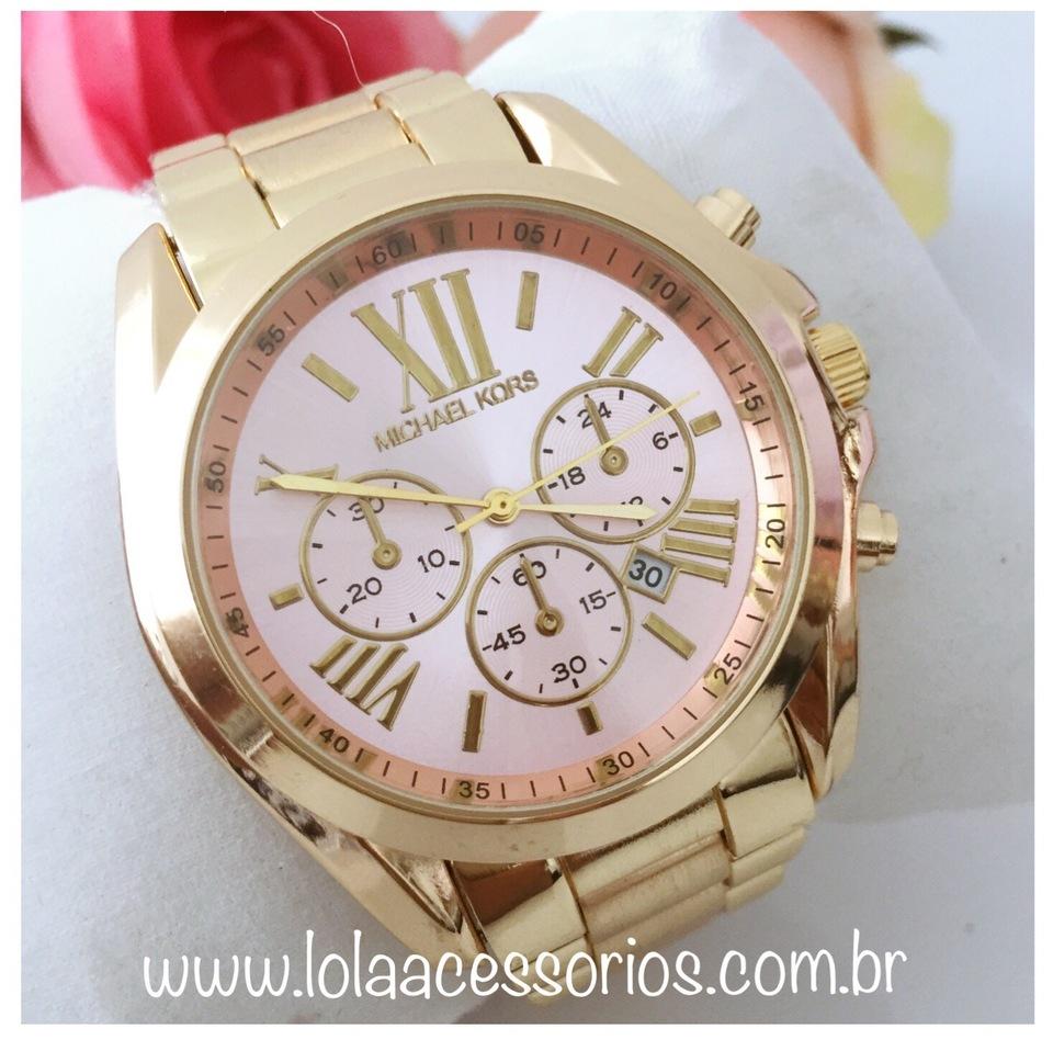 c441ca7b841 Relógio MK Dourado Romanos - Rosa Bebê - Lola Acessórios - Loja de ...