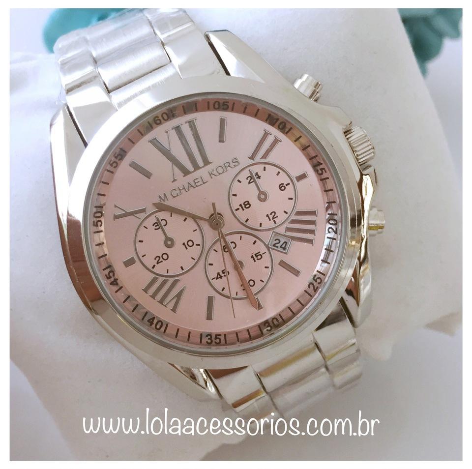 11e16ba7779 Relógio MK Prata Fundo Rosa Bebê I - Lola Acessórios - Loja de ...