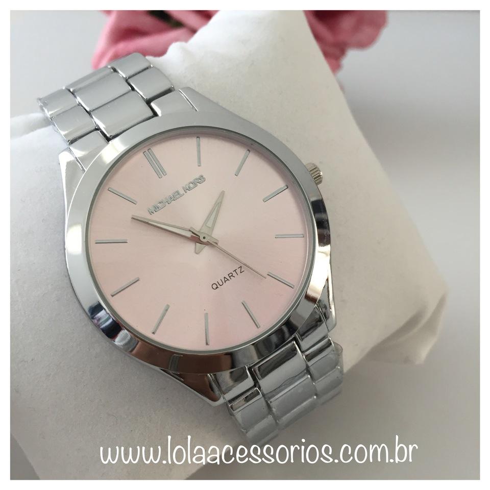 9e0a4bb4b7c Relógio MK Prata Fundo Rosa Bebê II - Lola Acessórios - Loja de ...