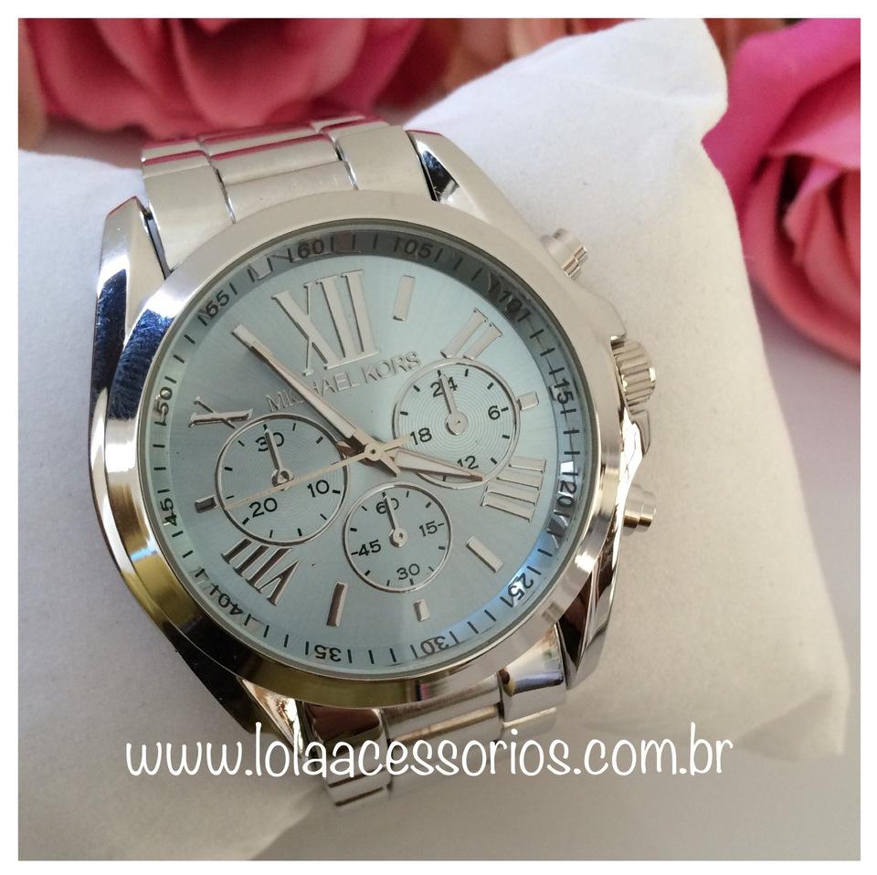 f7865b5dbc2 Relógio MK Prata - Azul Bebê - Lola Acessórios - Loja de acessórios ...