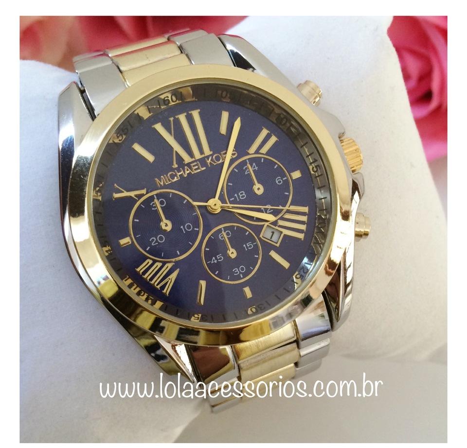 daf49154f1d00 Relógio Prata   Dourado Fundo Azul - Lola Acessórios - Loja de ...