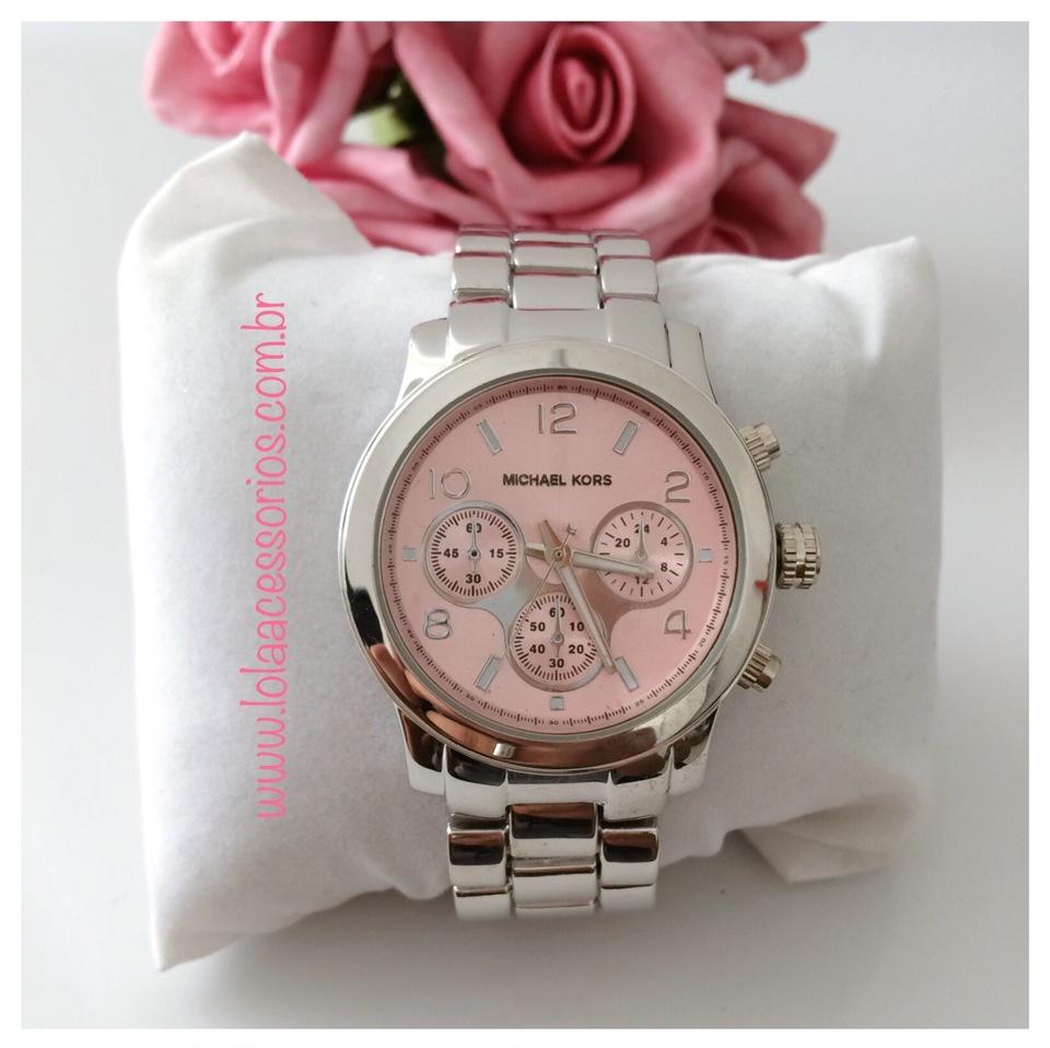 dc52f49312c Relógio Michael Kors Prata - Rosa Bebê - Lola Acessórios - Loja de ...