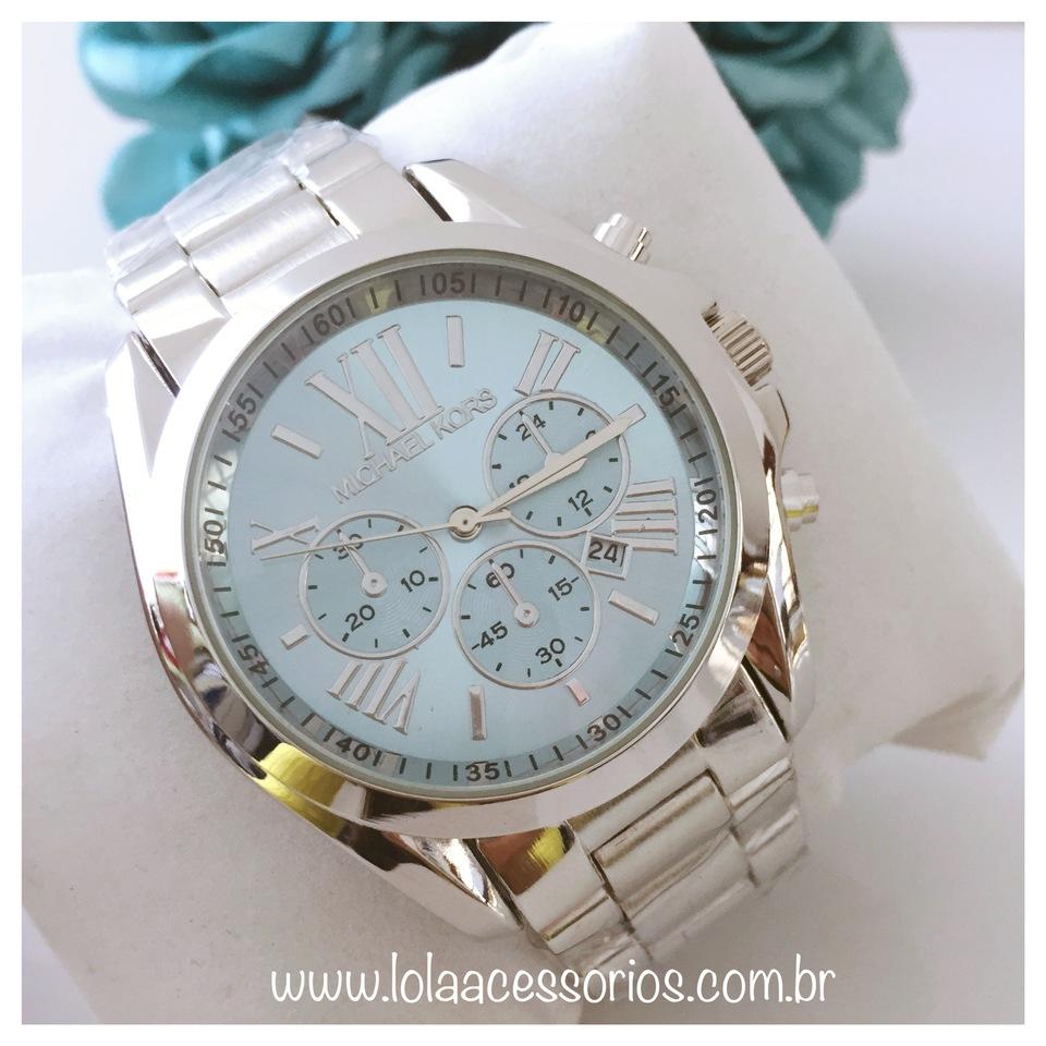 71f3af79e26 Relógio MK Prata Fundo Azul Bebê I - Lola Acessórios - Loja de ...