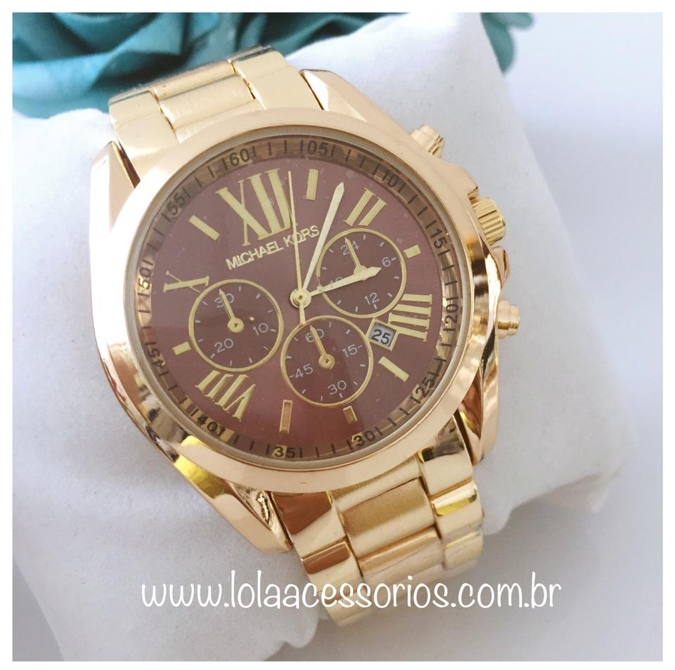 c3c7b968b5eb2 Relógio MK Dourado Fundo Marrom - Lola Acessórios - Loja de ...
