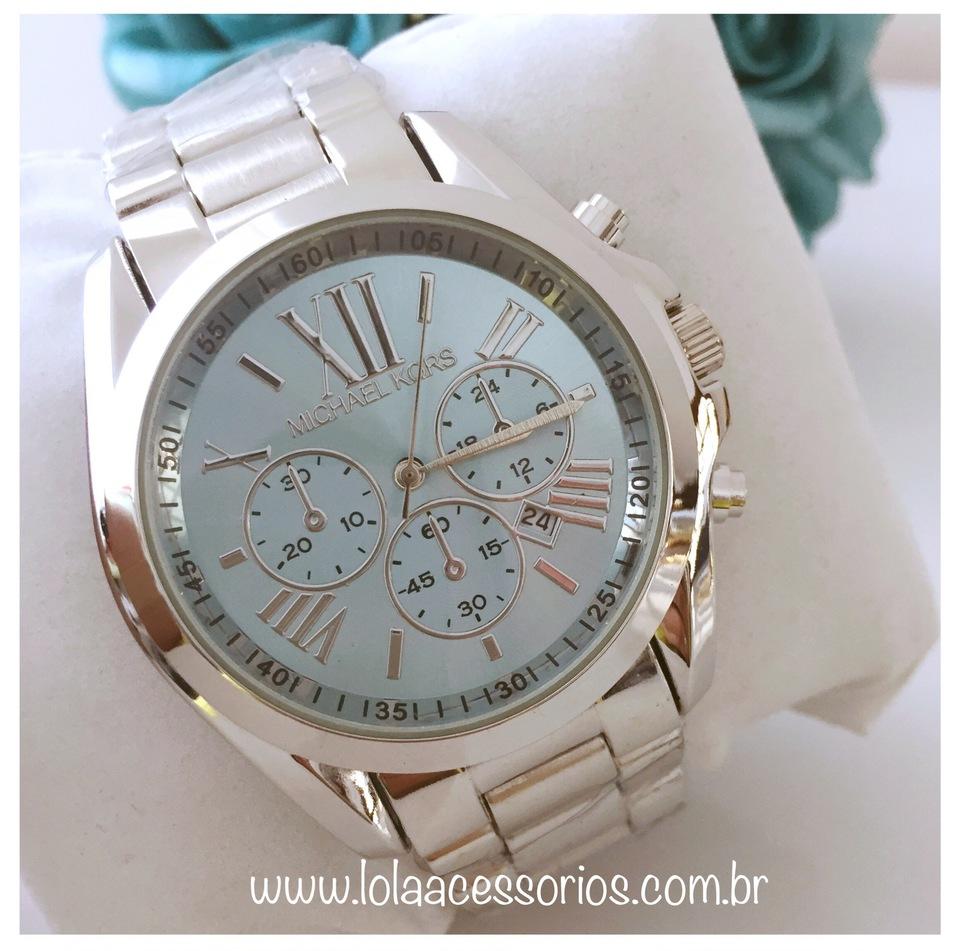 1c14ea86b8871 Relógio MK Prata Fundo Azul Bebê I - Lola Acessórios - Loja de ...