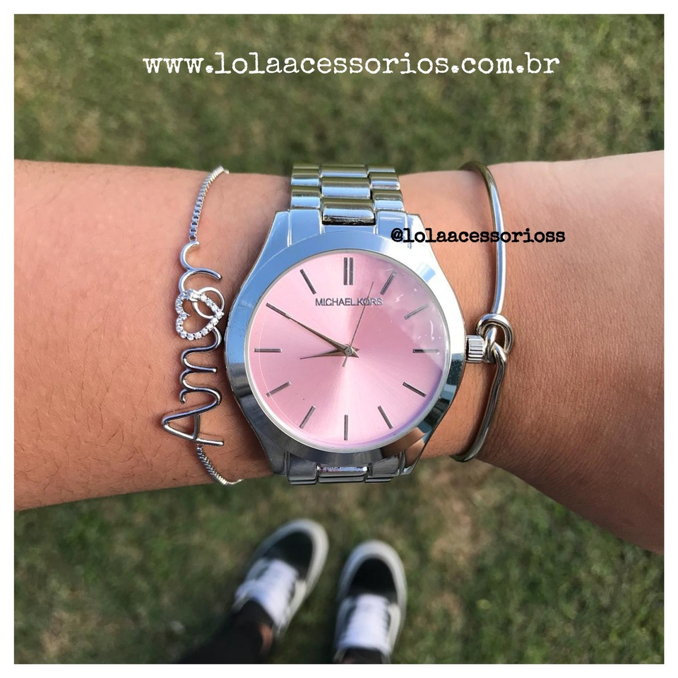 794c1b6109d Relógio MK Prata - Rosa Bebê Slin - Lola Acessórios - Loja de ...