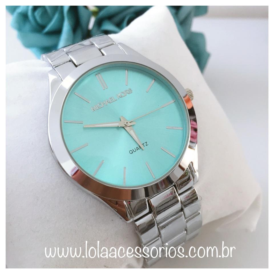 21aed7c96b2 Relógio MK Prata Fundo Azul - Lola Acessórios - Loja de acessórios ...