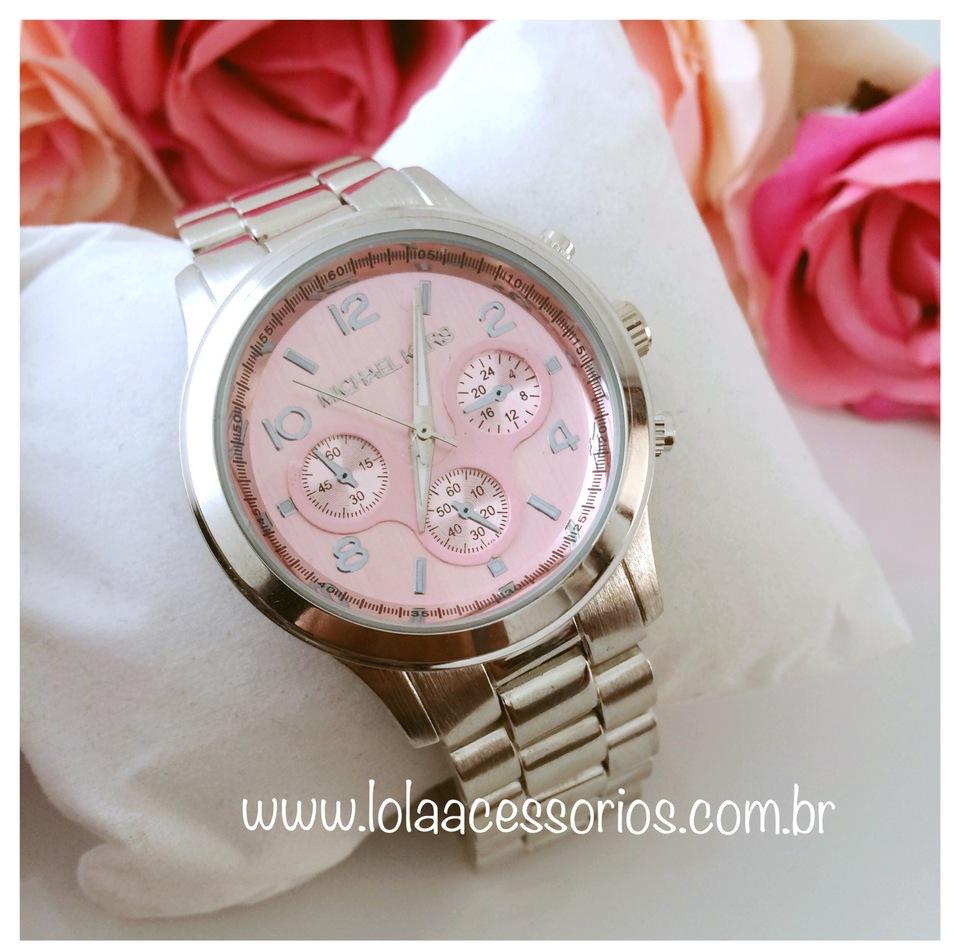35aab622054 Relógio MK Prata - Rosa bebê - Lola Acessórios - Loja de acessórios ...