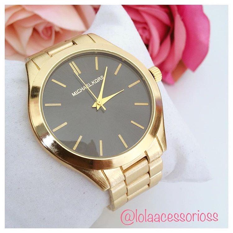 9517500e855 Relógio MK Dourado Fundo Black - Lola Acessórios - Loja de ...