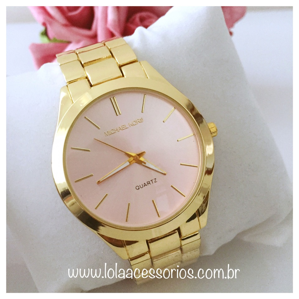 721203ee030 Relógio MK Dourado Fundo Rosa Bebê - Lola Acessórios - Loja de ...
