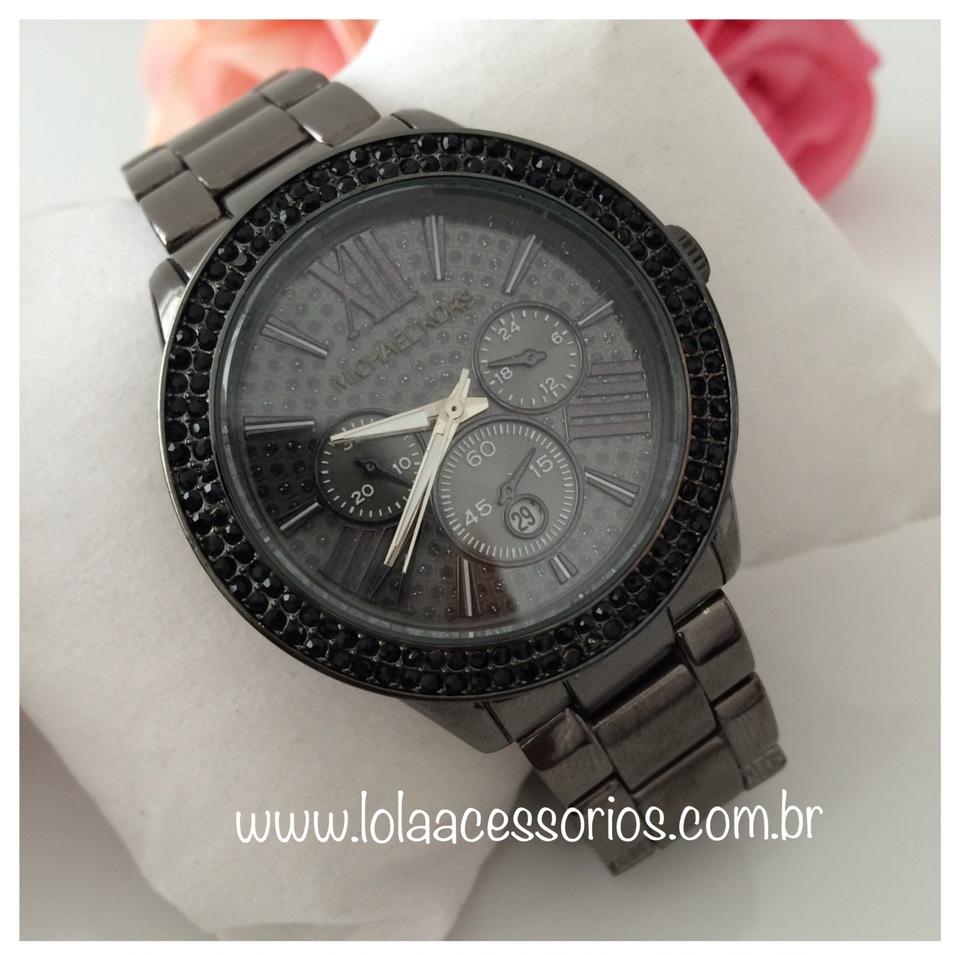 c7bbe1d2bcc6a Relógio Mk Black Strass - Lola Acessórios - Loja de acessórios Femininos