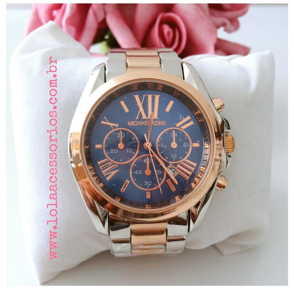 Relógio Michael Kors Prata e Rose - Azul - Lola Acessórios - Loja de ... 61c2ffb48e