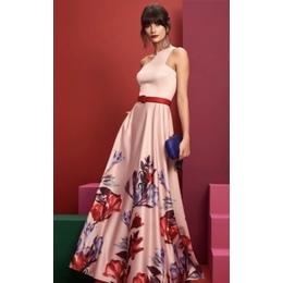Vestido longo saia floral com cinto