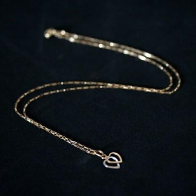 76d0339934495 Corrente de Ouro 18k Cartier 45cm com Pingente de Coração Duplo em Ouro  Branco e Ouro Amarelo