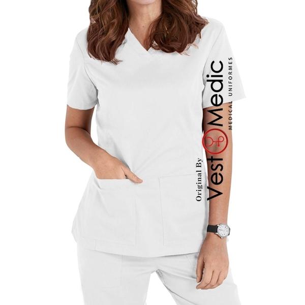 Conjunto Pijama Cirúrgico Feminino - Branco CONFORT