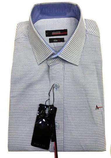 4f43657482816 Camisa Social Aramis Cinza Pontinhos - MWgrifes - Aqui é Top!