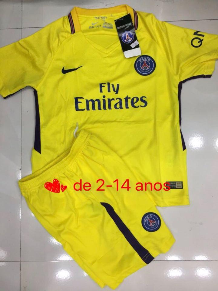 Conjunto Paris Saint Germain Amarelo Nike Infantil - MWgrifes - Aqui ... bc181093d5369