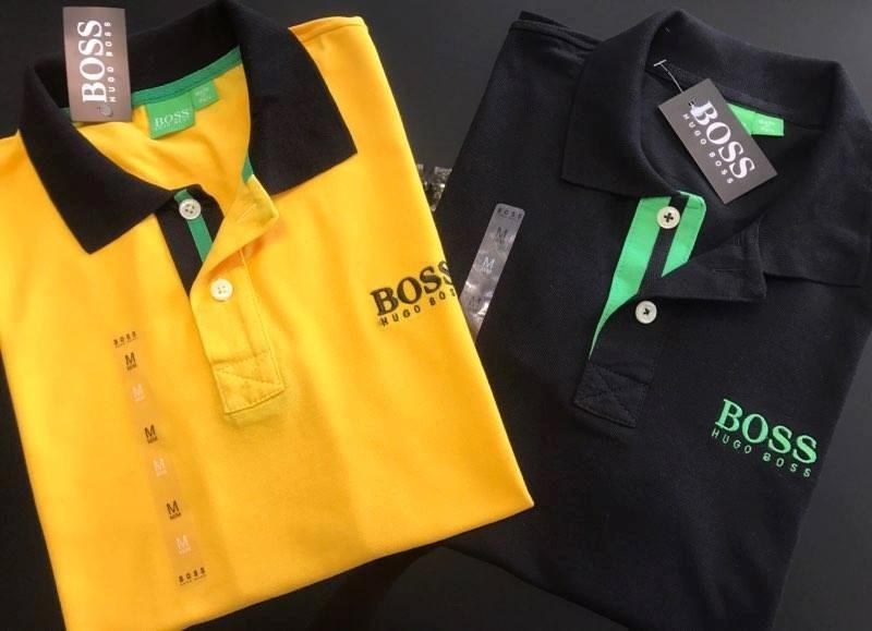 28ebdc1ab2207 Kit com 2 Camisas Polo Hugo Boss 1 Amarela + 1 Preta - MWgrifes ...