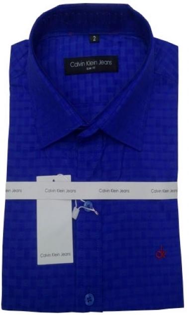 Camisa Social Calvin Klein Azul Royal Quadriculada - MWgrifes - Aqui ... 8a8159b3c7