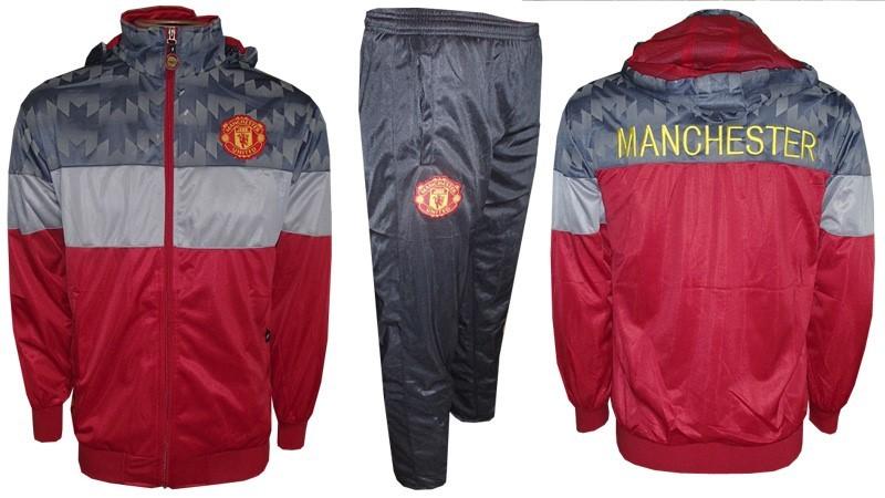 ed05195a1 Agasalho Manchester United Vermelho e Cinza Rajado - MWgrifes - Aqui ...