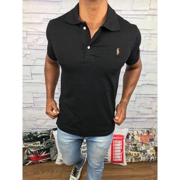 camisa polo ralph lauren preta cavalo colorido - MWgrifes - Aqui é Top! e01fa653189
