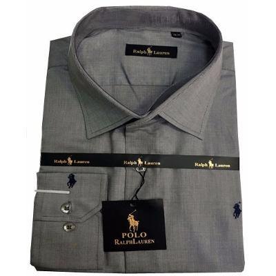 Camisa Social Ralph Lauren Cinza Lisa RL102 - MWgrifes - Aqui é Top! 303786b2e70