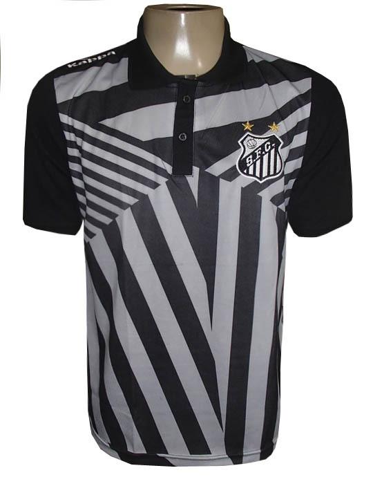 Camisa Polo Santos Kappa Preta e Cinza Viagem 2017 - MWgrifes - Aqui ... 863f3aea28b43