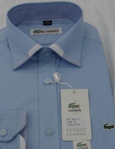 7d7fec4f87d3c Camisa Social Lacoste Azul Clara OTK - MWgrifes - Aqui é Top!