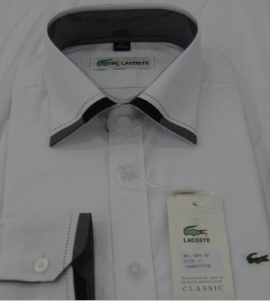 3bec18a9d1bf0 Camisa Social Lacoste Branca OTK - MWgrifes - Aqui é Top!