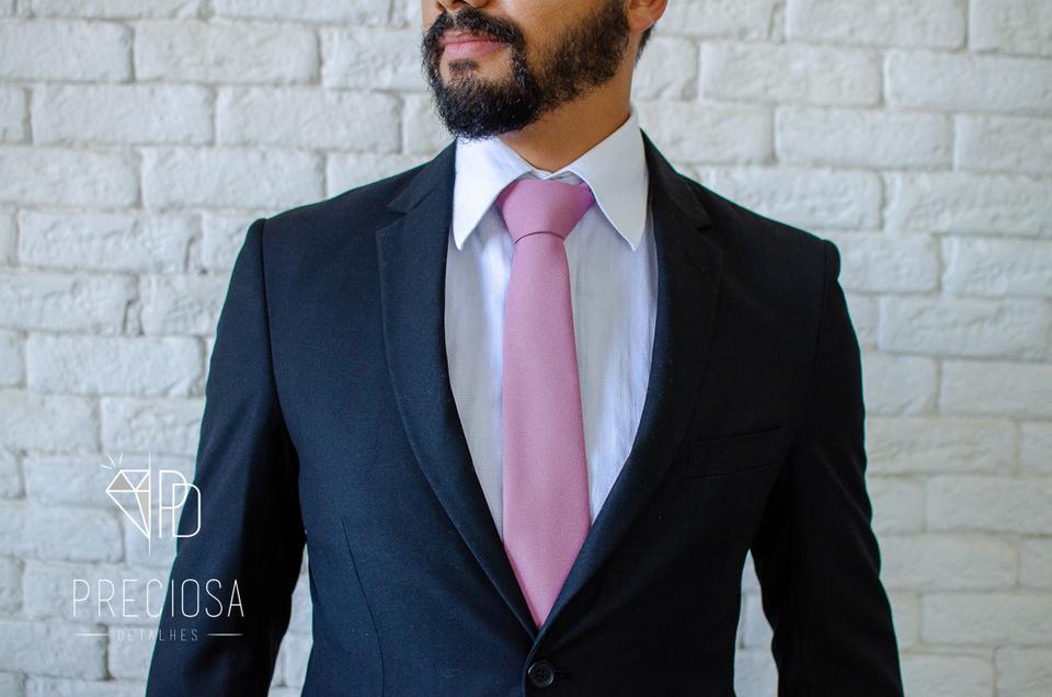 Gravata Rosa Queimado Jacquard