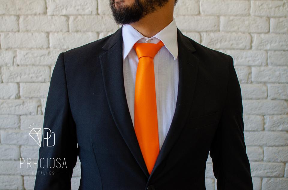 Gravata Italiana Laranja Neon Lisa