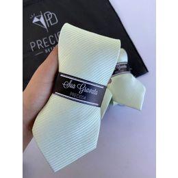 Gravata verde claro listrado