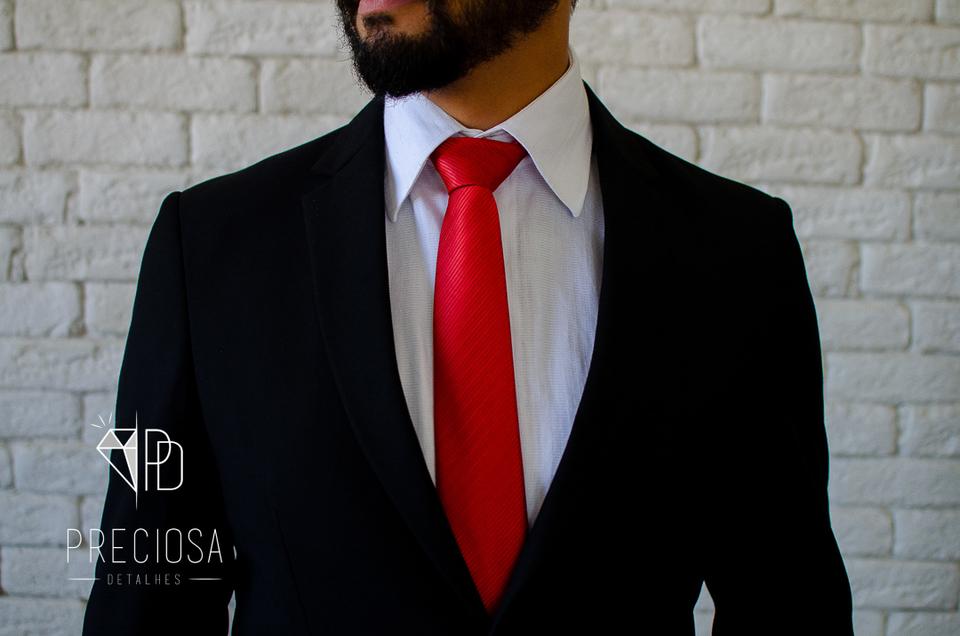 Gravata Vermelha Listrada Italiana