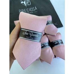 Gravata rosa chá lisa italiana