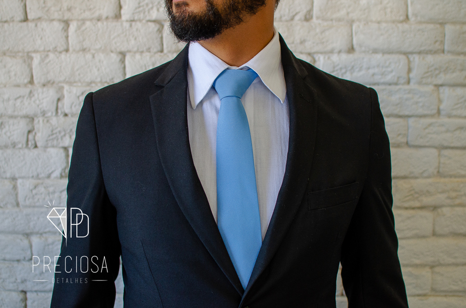 Gravata Azul claro Jacquard