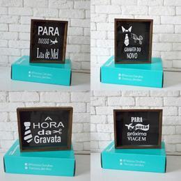 Cofre de Madeira (visor de vidro) - LUA DE MEL