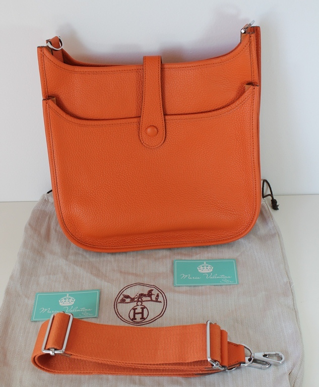 e54c45c366b Bolsa Hermès Evelyne Orange - Maria Valentina Store