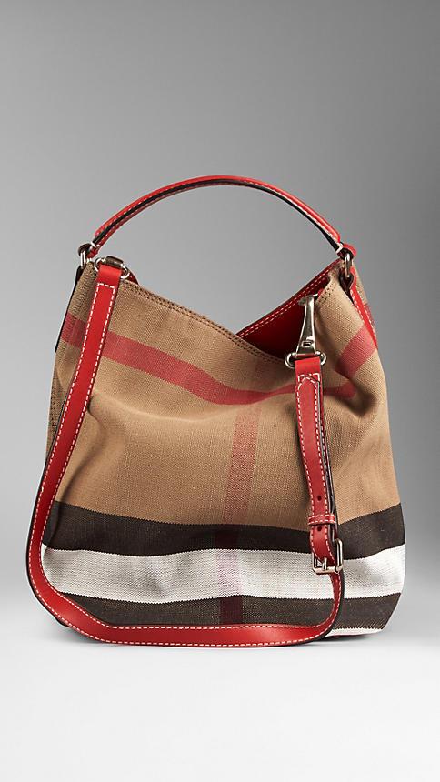 ef82568a9 Bolsa Burberry Hobo de Lona Xadrez Red - Maria Valentina Store