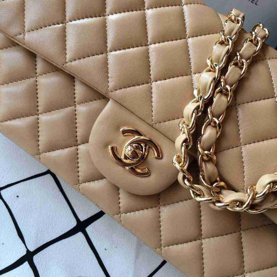 71e74b60b59 Bolsa Chanel Classic Flap Lambskin Beige - Maria Valentina Store