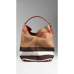 12586a1eb Bolsa Burberry Hobo de Lona Xadrez Red - Maria Valentina Store