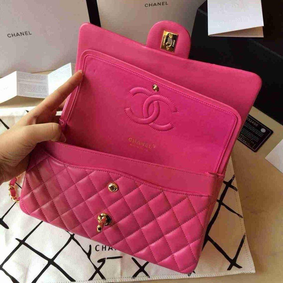 e616c9f14 Bolsa Chanel Classic Flap Lambskin Pink - Maria Valentina Store