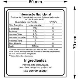 etiqueta com informação nutricional