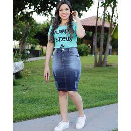 Saia Jeans com pigmento - Ref CC9A